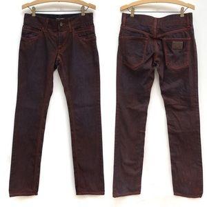 DOLCE & GABBANA Burgundy Wash Logo Blue Jeans